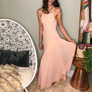 Lulus pale blush pink sexy strappy formal gown
